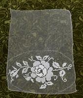 Rece csipke kézimunka virág minta lakástextil dekoráció függöny terítő asztalközép 36 x 29 cm