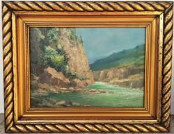 Mészáros Jenő (1883 - ) Vízpart 1933 c. olajfestménye Eredeti Garanciával !