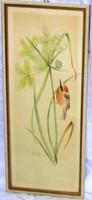Kortárs festmény madarat ábrázoló akvarell,jelzett,  46,5 x  20, 44 x 17,5 cm.