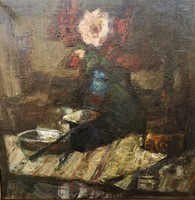 Boross Géza (1908 - 1971) Csendélet c Képcsarnokos olajfestménye 63x63cm Eredeti Garanciával !