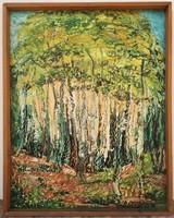 P. Kuczora Erzsébet (1930-1985) Erdőbelső c festménye Eredeti Garanciával !