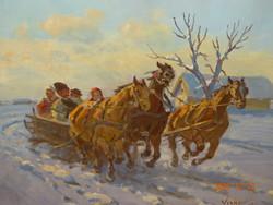 János Viski (Szokolya 1891-): on a sleigh (winter triple tooth)