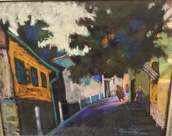 Rónai Géza (1886 - 1944) Tabán Gül Baba utca c festménye Eredeti Garanciával !