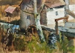 Rozs János (1901 - 1987) Vizimalom c festménye Eredeti Garanciával !