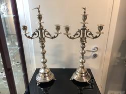 Háromágú ezüst gyertyatartó pár - E32