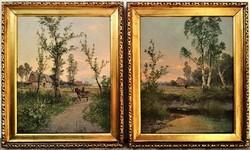 Antik Osztrák festmények párban 2db jelzett J. Marko 1906 Eredeti Garanciával !