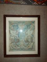 Különleges nyomat, 39,5x46,5 fészkű, üvegezett keretben, falra kész állapotban