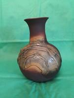 Somogyi Lajos kerámia váza, egyedi technika: különleges bőr hatás