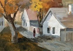 Rozs János (1901 - 1987) Utcarészlet c festménye Eredeti Garanciával !
