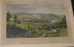 Ludwig Rohbock Kassa látkép acél metszet Hunfalvy-Rohbock: Magyarország és Erdély eredeti képekben