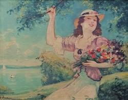 Illencz Lipót( 1882 - 1950 ) Lány virágokkal