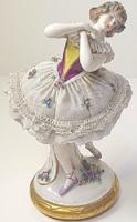 Antik Alt Wien nagyméretű porcelán balerina