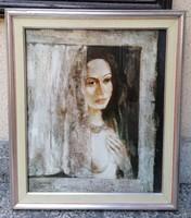 Izsák József (1929) : Várakozás c. Képcsarnokos Festménye