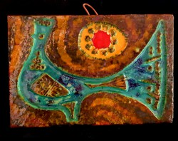 Zsolnay -Pirogránit falikép  Méret 29.8×20.5cm×3cm