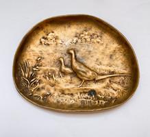 Berndorf bronz fácános tálka.