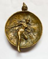 Fairy and leprechaun, István Hungler bronze bowl.