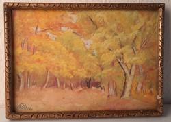 Őszi erdőrészlet grafika, festmény keretben üveg mögött