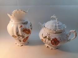 Antik porcelán cukortartó és kancsó, pipacsos mintával