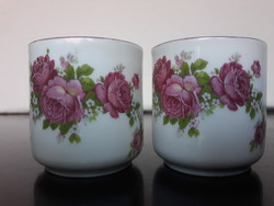 2 db rózsás Zsolnay porcelán mokkás csésze, nagyon szépek