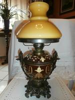 Asztali majolika lámpa , petróleumlámpa