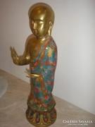 Aranyozott bronz rekeszes eljárással buddha szobor + engóbe festéssel is 46 cm 3451 gr-os