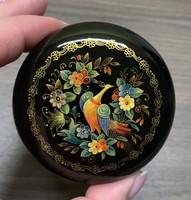 Orosz kézzel festett jelzett lakkdoboz