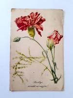 Régi virágos képeslap szekfűs levelezőlap