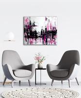 Vörös Edit: Pink Black Abstract 60x50 cm