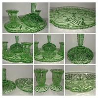 Zöld csiszolt üveg fésülködő asztal készlet
