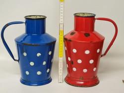 Fehér pöttyös, piros, kék zománcos kis bádog kanta, kanna 2 db (1807)