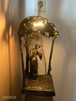 Antik bronz szobor asztali lámpa