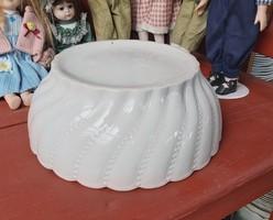 Vastag fehér hatalmas 32 cm-es  porcelán tál Csavart Gyöngyös mintával Pogácsás tál paraszttál