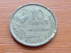 FRANCIA 10 FRANCS FRANK 1952 c. + szárny KAKAS, 81-63% réz, 9-27% ón, 10% alumínium #
