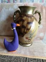 21177A3 Aranyfácános kerámia füles váza