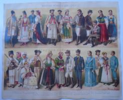 G2021.166 Magyar nemzeti viseletek I. -  1896, színes nyomat, Erdély,  Felvidék Temesi, Bánság