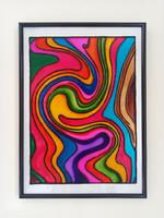 Üvegfestmény absztrakt színes hullám