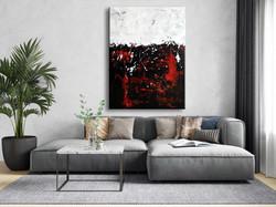 Vörös Edit: Jackson Pollock Style White Abstract N1802 120x90cm