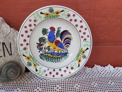 Gyönyörű  ritkább Wilhelmsburgi kakasos kakas mintás falitányér,  tányér , nosztalgia szépség