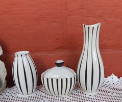 Retro Hollóházi 3 db-os art deco   csíkos fehér fekete váza vázák bonbonier Asztali szett