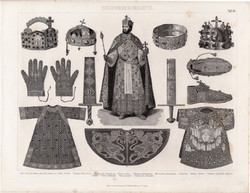 Történelem, kultúra, újkor (44), egyszínű nyomat 1875, német, koronázás korona, palást, kard, magyar