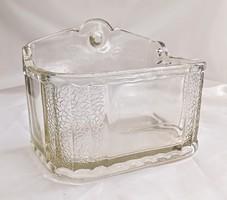 Régi Öntött üveg sótartó
