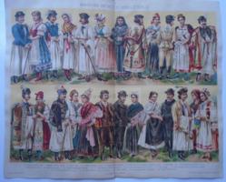 G2021.167 Magyar nemzeti viseletek Ii. -  1896, színes nyomat, Rábaköz, Palóc, Heves, Esztergom