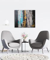 Vörös Edit: Blue Gray Abstract 60x50 cm