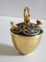 Mini réz teáskanna csörgő figura, dísztárgy