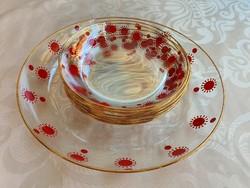 Piros napocskás (Centrum Varia) üveg süteményes készlet