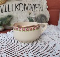 Gyönyörű ritka antik Fischer Emil fajansz 5 cm magas virágos 2 dl-es teás csésze teáscsésze Gyűjtői