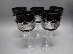5db csiszolt rubin ólomüveg kristály boros pohár