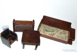 Régi, antik art deco stílusú  fa bababútor, játék baba bútor garnitúra-babaház kellék
