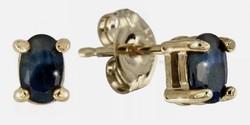Valódi, természetes zafír drágaköves  sterling ezüst füli 925, 14K aranyozva  - új