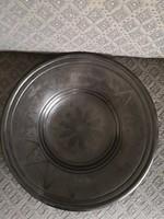 Karcagi nagy méretű, fekete kerámia tál - 35 cm átmérő
